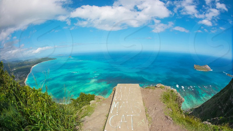 Waimanalo bay lookout from the mountain above. hike aka the dead man cat walk Honolulu Hawaii Oahu photo
