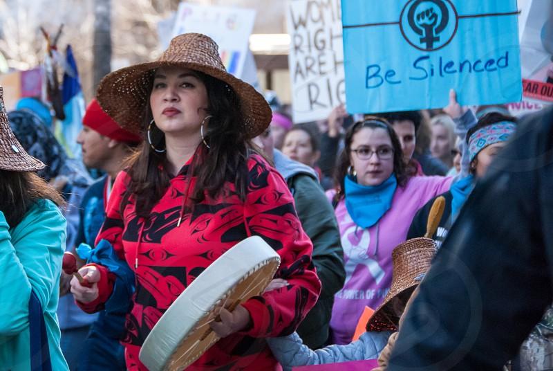 Native Americans Dakota access pipeline oil red Womxn rally Seattle protesters women's march women feminist anti trump twitter Donald Trump  photo