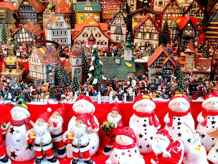 Christmas village and snowmen gnomes and santas photo