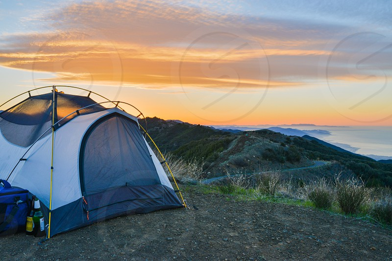 camping tent sunrise photo