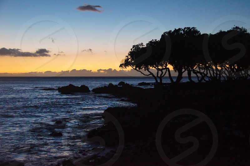 Sunset Hawaii Waikoloa big island ocean beach trees clouds photo