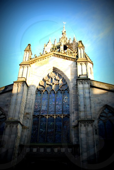 Church in Scotland architectural vertical lines photo