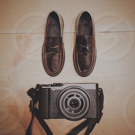 brown leather loafer shoes photo