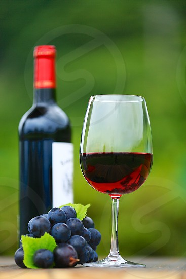 half filled wine glass beside grapes photo