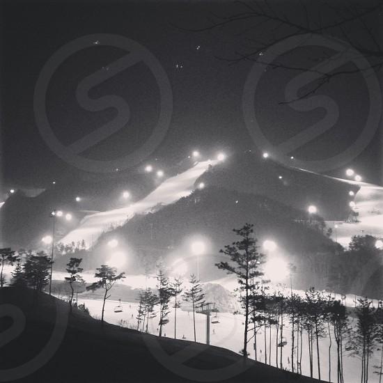 Ski resort in South Korea at night photo