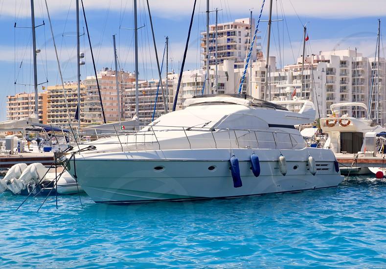 Ibiza San Antonio de Portmany marina boats in Balearic islands photo