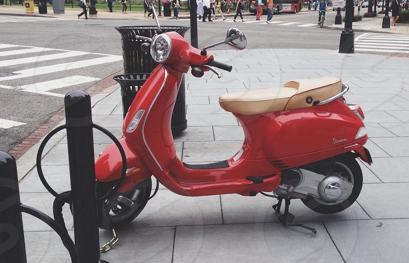 City Vespa motorbike urban lifestyle red photo