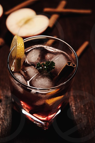 apple cider with cinnamon whiskey photo