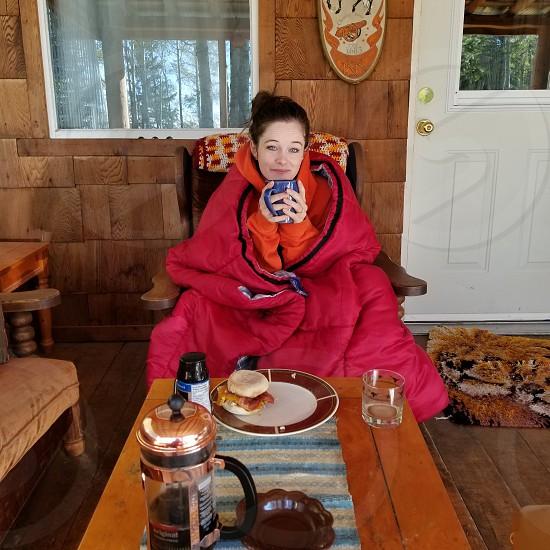 fall cabin breakfast coffee love photo