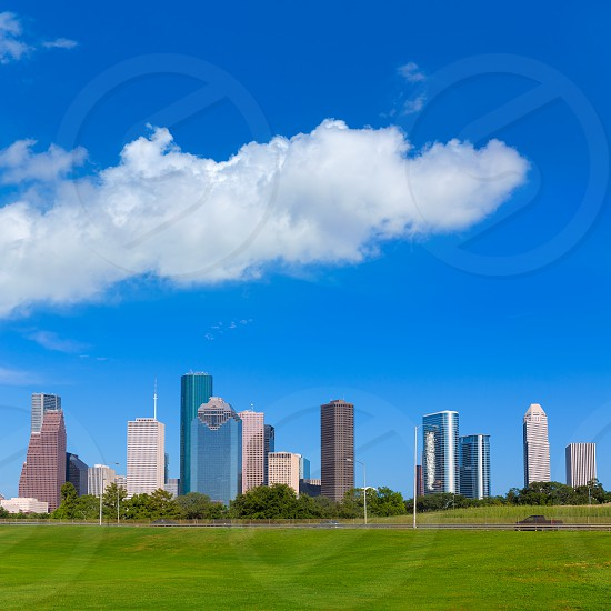 Houston skyline blue sky and Memorial park turf at Texas USA US photo