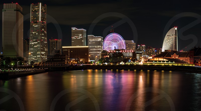 YOKOHAMA JAPAN 6 may 2019 The night view of the Yokohama Minato Mirai 21 area. photo