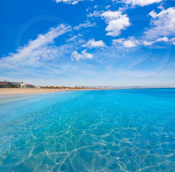 Valencia Malvarrosa beach Las Arenas in Mediterranean sea of Spain photo