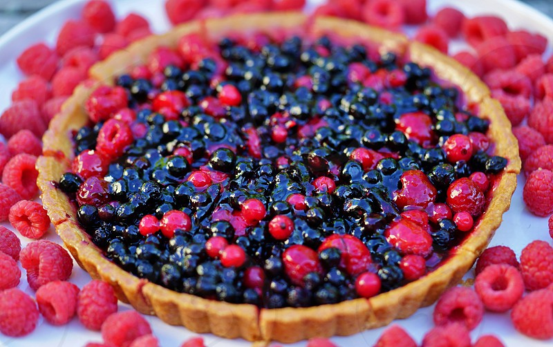 Baking a colorful berry tart photo