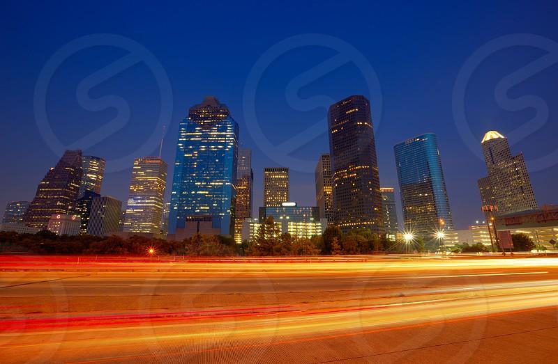 Houston downtown skyline at sunset dusk in Texas US USA photo