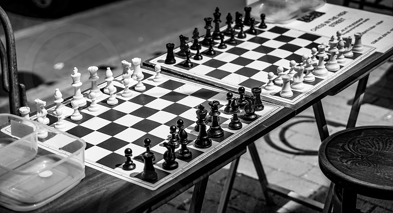 Chess Boards in the Street Ready for a Game in East Grinstead photo