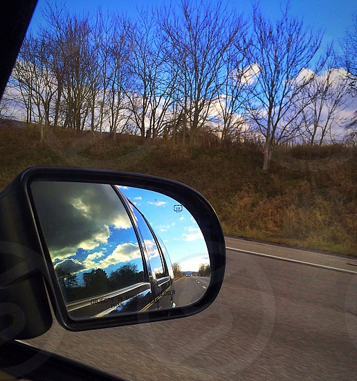 Car mirror reflection traveltrees driving photo
