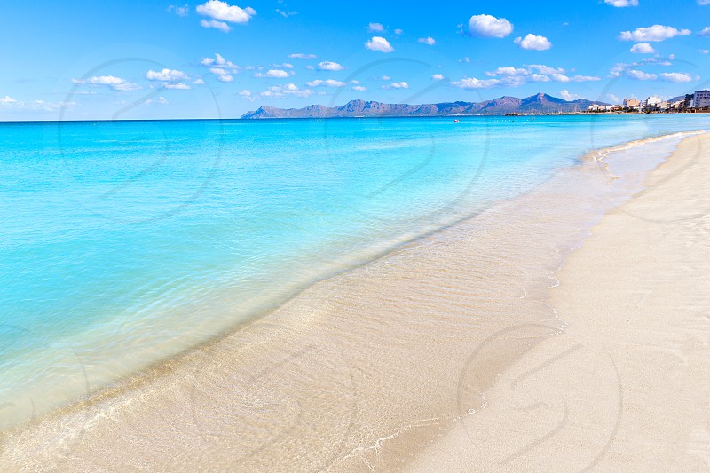 Mallorca Can Picafort beach in alcudia bay at Majorca Balearic islands of Spain photo