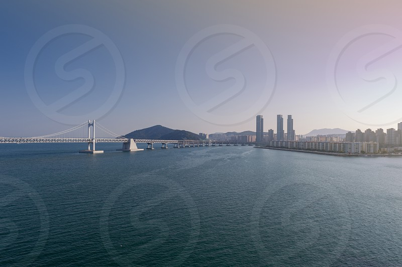 Scenic view of Busan Gwangandaegyo Bridge (Diamond Bridge) a suspension bridge connecting Haeundae-gu to Suyeong-gu in Busan South Korea photo