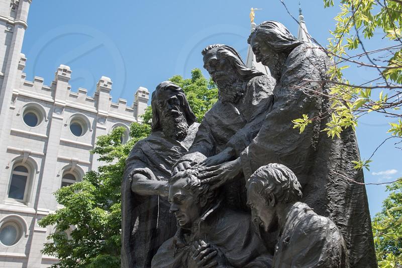 Mormon temple church slc Salt Lake City Utah temple square statue photo
