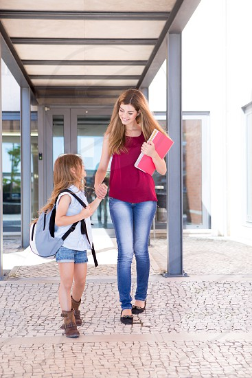 back to school student campus school kid child girl mom mother sister photo