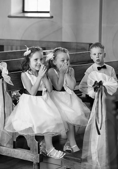 children at the wedding ceremony photo