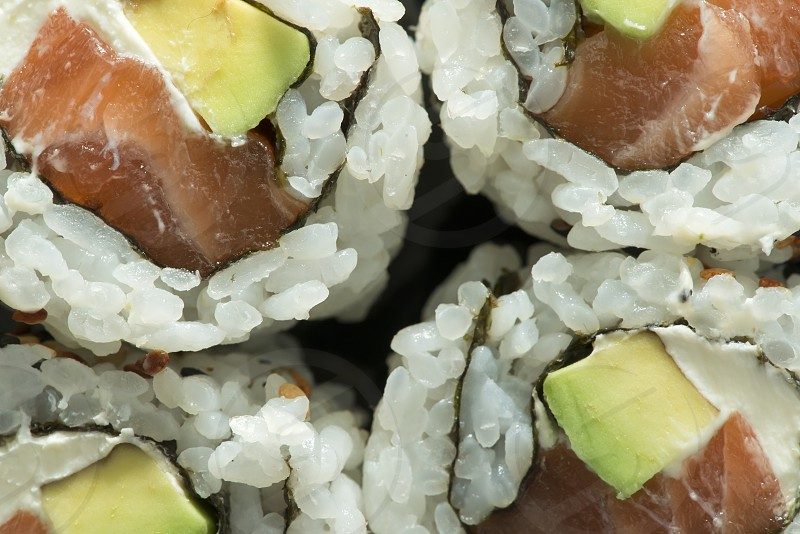Close up sushi in plate. Diverse sushi photo