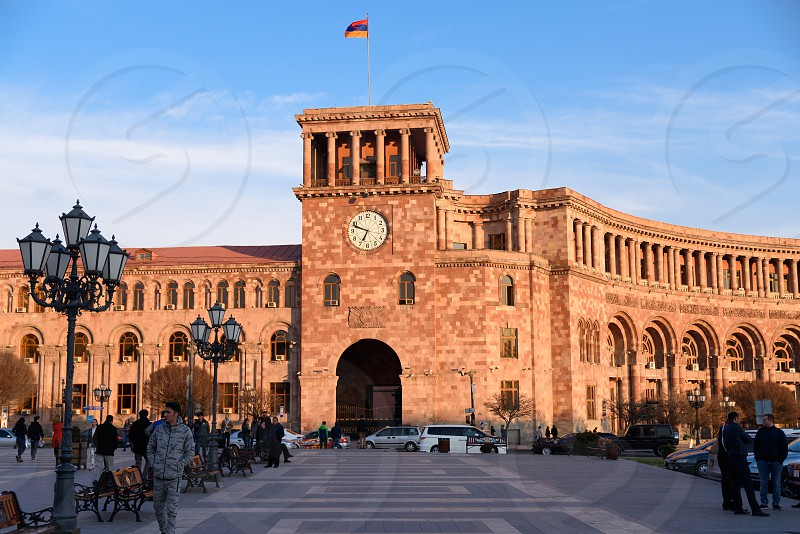 The Government House of Armenia and the Republic Square in the center of Yerevan Armenia. photo