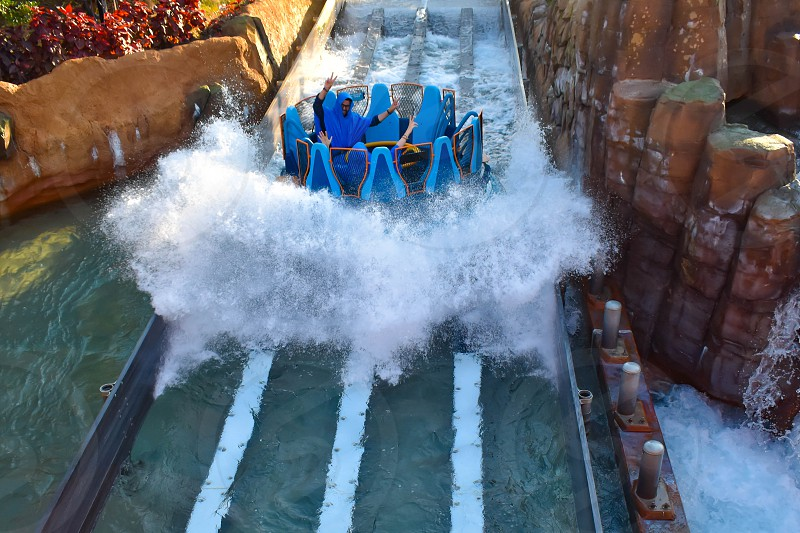 Orlando Florida. January 20 2019 People enjoying river attraction ride Infinity Falls at Seaworld Marine Theme Park (1) photo