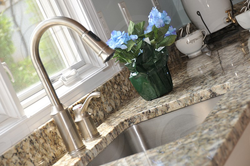 Kitchen contemporary granite stainless sink fixtures  photo