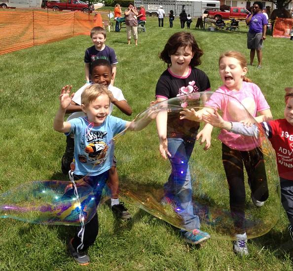 Children kids bubble fun photo