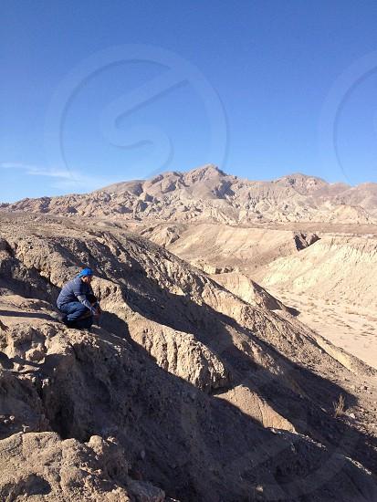 Desert landscape mountain cliff photo