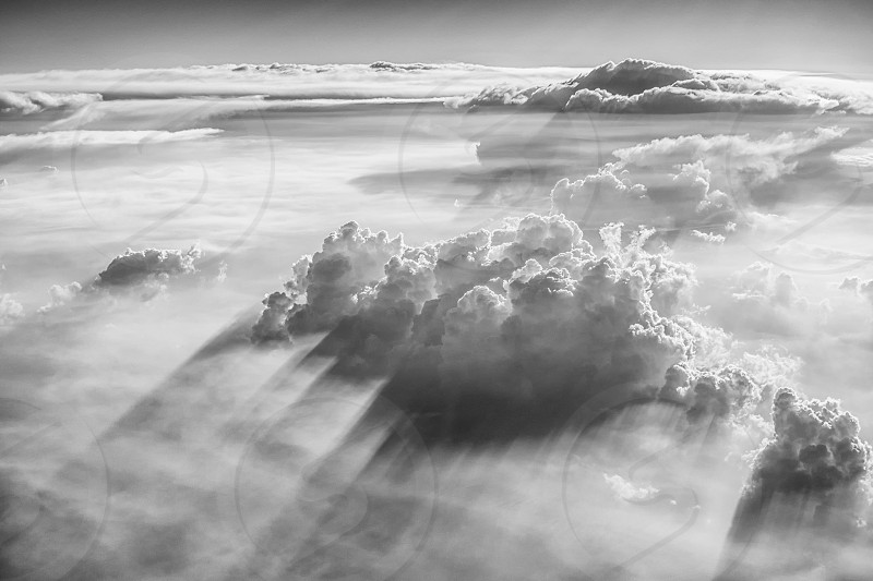 cumulus clouds in aerial and gray scale photography photo