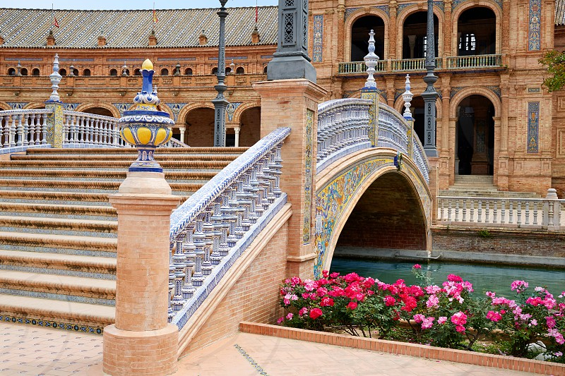 Seville Sevilla Plaza de Espana bridge Andalusia Spain square photo