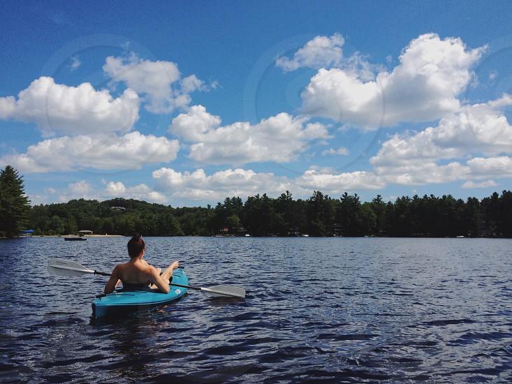 blue paddleboat photo