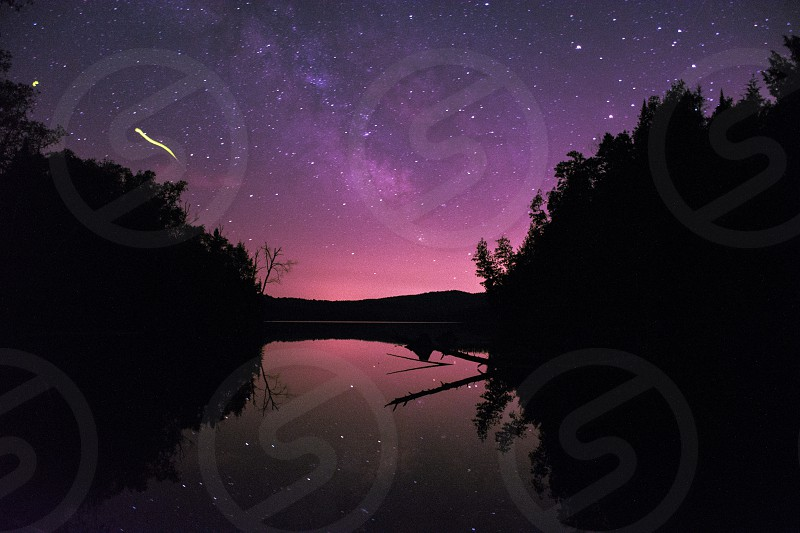 Long exposure view of the milky way from the region of Quebec Canada. photo