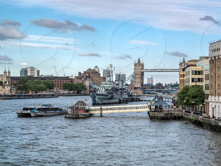 HMS Belfast Anchored near Tower Bridge photo