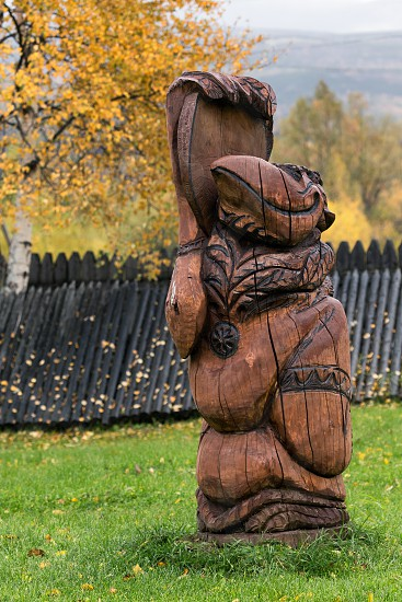 ESSO VILLAGE KAMCHATKA RUSSIA - SEP 18 2013: Traditional wood carving - Kutkh - embodiment of spirit of Raven traditionally revered by various indigenous peoples. Bystrinsky Ethnographic Museum. photo