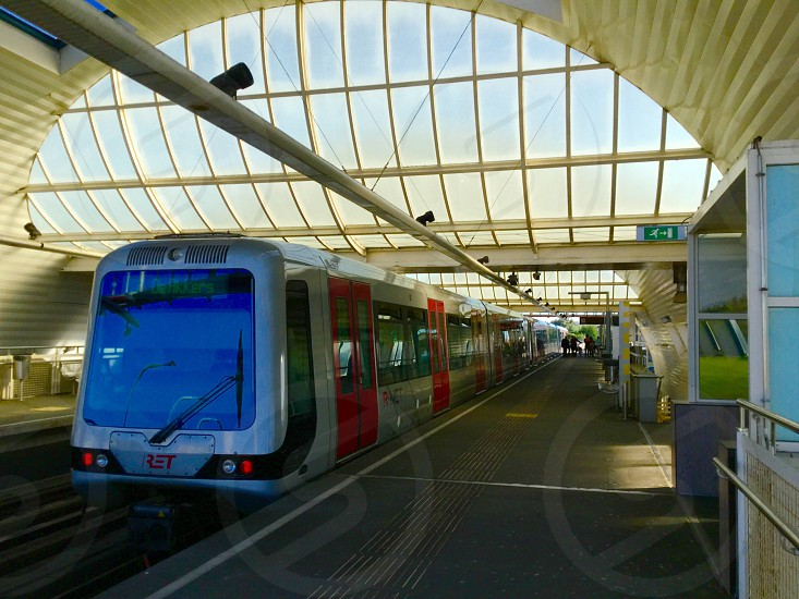 Platform metro station holland Spijkenisse transport public rail train inside travel trip city photo