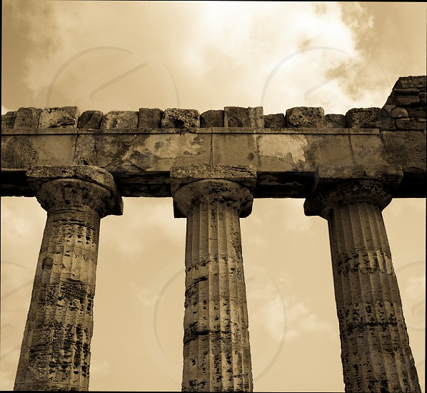 Ancient Temple stone pillars at Selinunte Sicily. photo