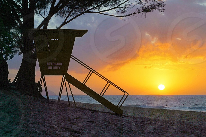 Lifeguard Stand at Sunset. photo