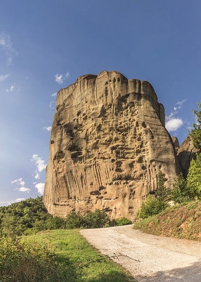Monastic cave hermit monks houses and rock formation in Meteora near Trikala Greece. photo
