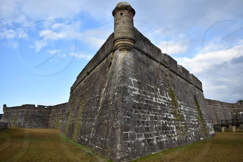 St. Augustine Florida. January 26  2019.Panoramic view of Castillo de San Marcos Fort in Florida's Historic Coast. photo
