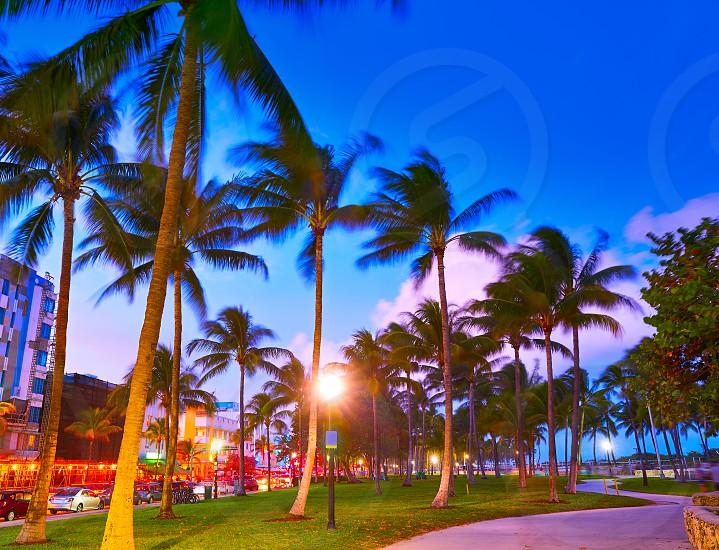 Miami Beach South Beach sunset in Ocean Drive Florida photo