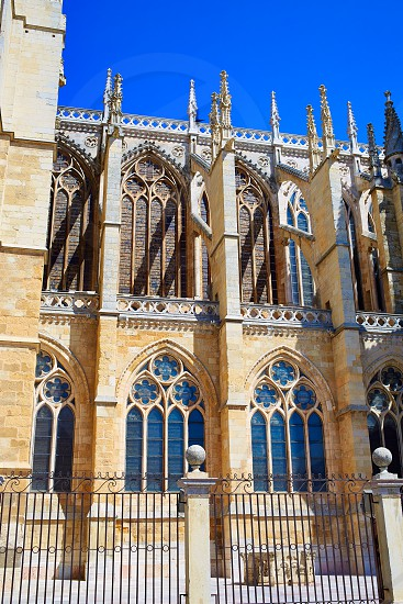 Cathedral of Leon right side facade in Castilla at Spain photo
