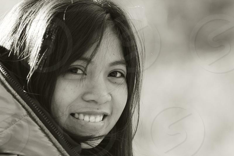 Smile ethnic Asian Dark hair Black and White photo