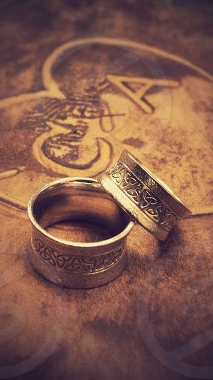 Wedding Rustic Rings Celtic Worn Aged Vintage Marriage Love photo