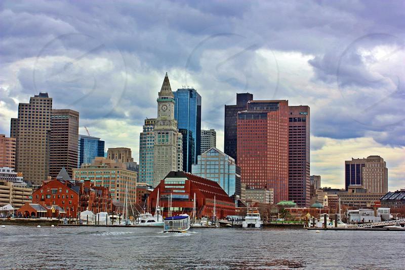 Storm clouds Boston city skyline photo
