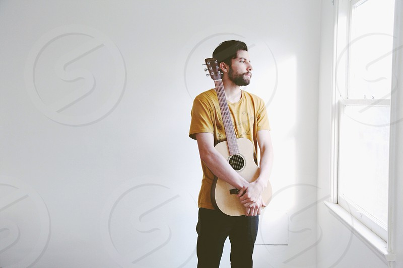 men's yellow shirt photo