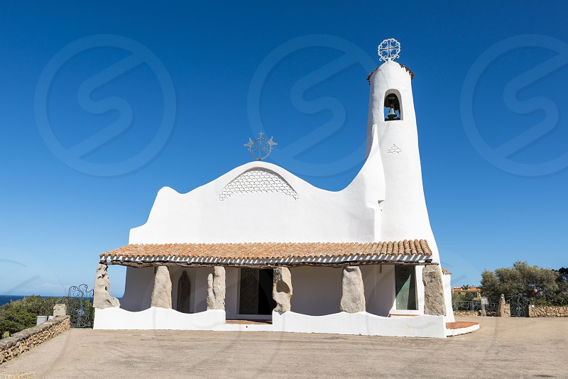 an old and typica church the church Stella Maris in Porto Cervo Costa Smeralda Sardinia Italy in the famous place of porto cervo where the rich and famous travel in summer