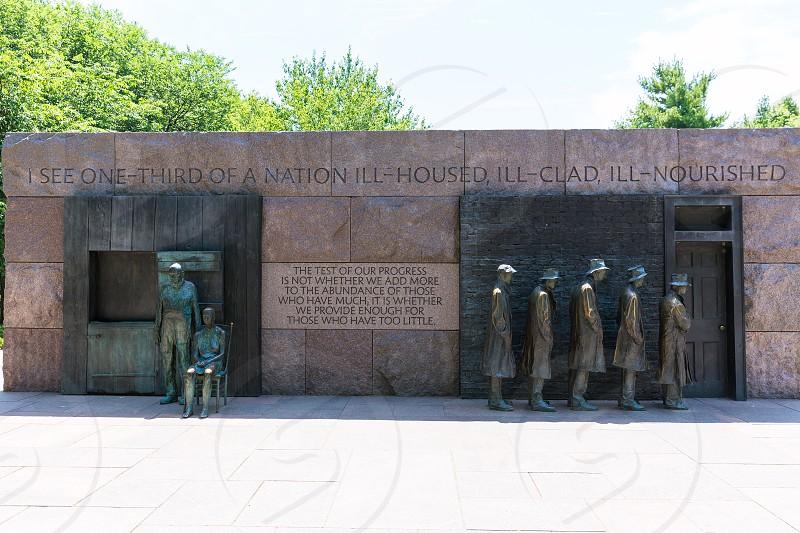 Franklin Delano Roosevelt Memorial in Washington Great Depression sculpture photo